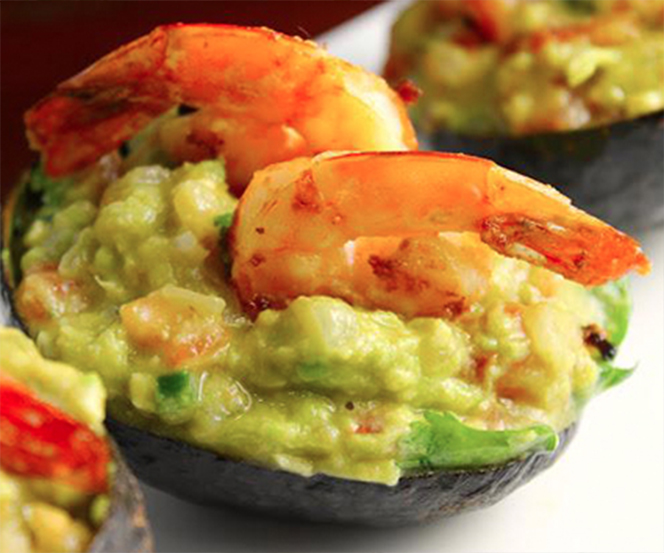 Avocado and Shrimp Canoes with Pico de Gallo Salad