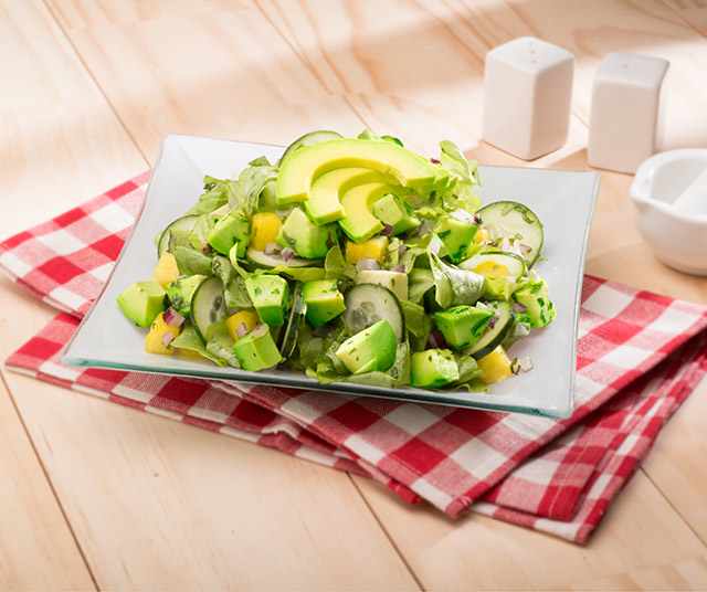 Pineapple, Cucumber, And Avocado Salad With Cilantro Dressing